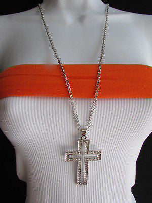"Wester Women Silver Metal Fashion Necklace Big Cross Pendant Rhinestones 15"" - alwaystyle4you - 1"