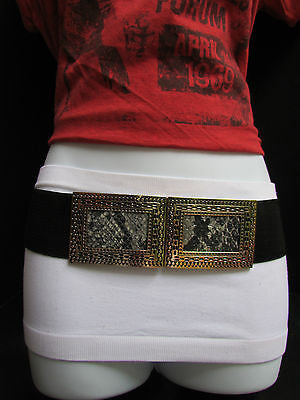 Black / Brown Hip Waist Stretch Belt Snake Print Moroccan Buckle Style Women Fashion Accessories Size S  M - alwaystyle4you - 4