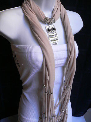 New Women Long Beige / Pnk Soft Scarf Fashion Necklace Silver Owl Pendant Rhinestones - alwaystyle4you - 6