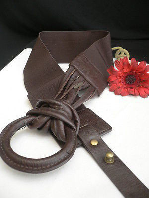 Z NEW CASUAL WOMEN HIP ELASTIC MOCHA BROWN WIDE FASHION BELT CIRCLE BUCKLE S / L - alwaystyle4you - 4