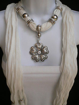 Blue Light Blue Black Dark Brown Light Pink Coral White Soft Scarf Necklace Heart Flower Silver Pendant New Women Fashion 6 Different Colors - alwaystyle4you - 8