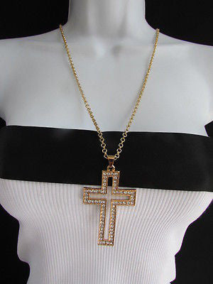 Wester Women Gold Metal Fashion Necklace Big Cross Pendant Silver Rhinestones 15 - alwaystyle4you - 11