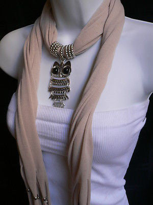 New Women Long Beige / Pnk Soft Scarf Fashion Necklace Silver Owl Pendant Rhinestones - alwaystyle4you - 11
