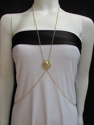 Women Full Body Chain Jewelry Long Necklace Paris Style Gold Metal Lion Head Thin - alwaystyle4you - 7