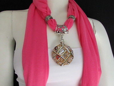Glass Pendant Pink Soft Fabric Scarf Long Necklace Silver Metal  New Women  Fashion - alwaystyle4you - 3