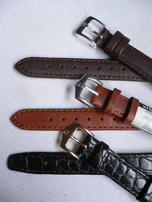New Men Women 3 Watch Band Set Genuine Leather Crocodile Solid Anti Allergy Casual Elegant Black Dark Light Brown Fashion Jewelry 14 Mm - alwaystyle4you - 4