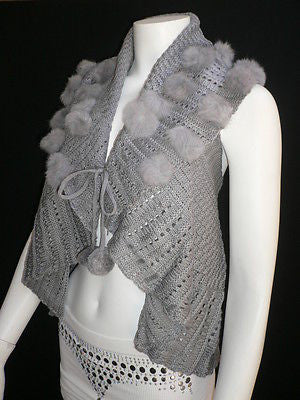 New Women Gray Trendy Knit Shawl Warm Sexy Top Faux Fun Ball Fashion Sweater Size L - alwaystyle4you - 12