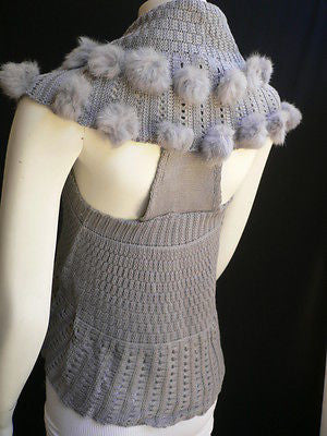 New Women Gray Trendy Knit Shawl Warm Sexy Top Faux Fun Ball Fashion Sweater Size L - alwaystyle4you - 3