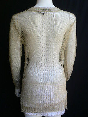 A Women Metallic Gold Knit Top Sweater Fashion Tunic Long Sleeve Blouse Medium - alwaystyle4you - 11