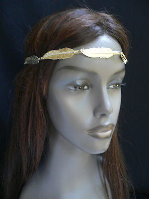 New Women Big Gold Metal Leaf Head Chain Band Fashion Jewelry Grecian Headband - alwaystyle4you - 6