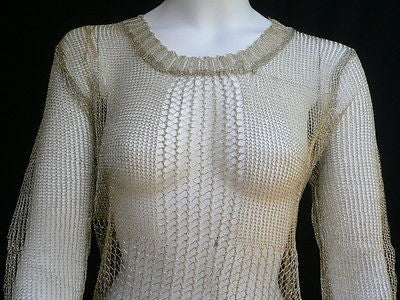 New Women Metallic Gold Knit Top Sweater Fashion Tunic Long Sleeves Blouse Size Small - alwaystyle4you - 3