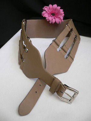 Aqua Blue Taupe Light Brown Black Red Faux Leather Elastic Hip Waist Belt Silver Buckle And Rings Rib Cage Women Fashion Accessories S M - alwaystyle4you - 5