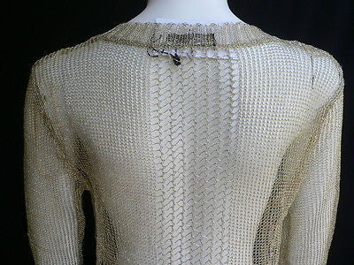New Women Metallic Gold Knit Top Sweater Fashion Tunic Long Sleeves Blouse Size Small - alwaystyle4you - 4