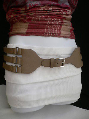Aqua Blue Taupe Light Brown Black Red Faux Leather Elastic Hip Waist Belt Silver Buckle And Rings Rib Cage Women Fashion Accessories S M - alwaystyle4you - 10