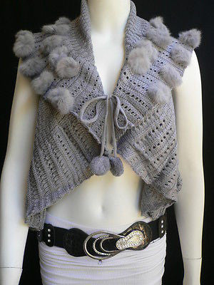 New Women Gray Trendy Knit Shawl Warm Sexy Top Faux Fun Ball Fashion Sweater Size L - alwaystyle4you - 4