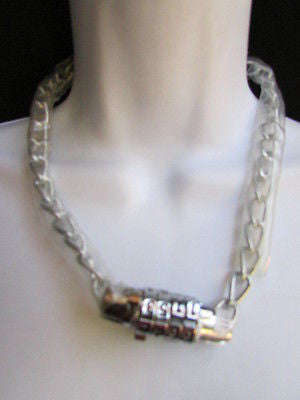New Number Lock Women Chunky Silver Metal Trendy Punk Fashion Bikers Necklace - alwaystyle4you - 1