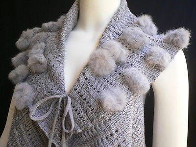 New Women Gray Trendy Knit Shawl Warm Sexy Top Faux Fun Ball Fashion Sweater Size L - alwaystyle4you - 11