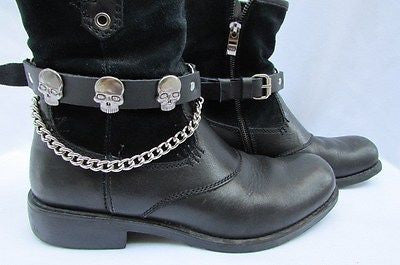 Black Pair Leather Straps Silver Metal Skulls Boots Chains Trucker Shoe New Men Accessories