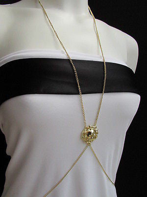 Women Full Body Chain Jewelry Long Necklace Paris Style Gold Metal Lion Head Thin - alwaystyle4you - 5