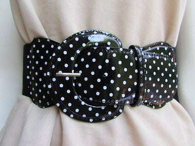 Black Blue Blue Royal Red White Low Hip / High Waist Stretch Wide Elastic White Polka Dots Stretch Belt New Women Fashion Accessories - alwaystyle4you - 1