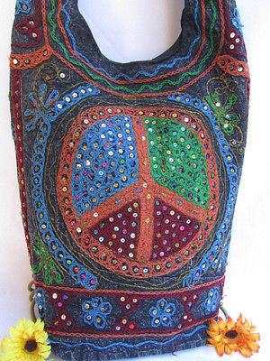 New Women Cross Body Fabric Fashion Messenger Hand Bag Big Peace Sign Black Red Blue - alwaystyle4you - 102