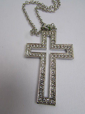 "Wester Women Silver Metal Fashion Necklace Big Cross Pendant Rhinestones 15"" - alwaystyle4you - 2"