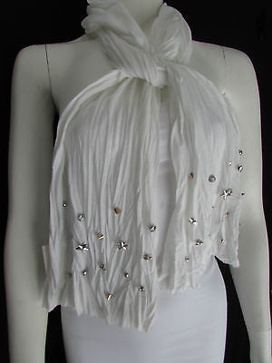 New Women Soft Fabric Fashion White / Blue /  Gray / Black Scarf Long Necklace Silver Metal Stars Studs - alwaystyle4you - 12