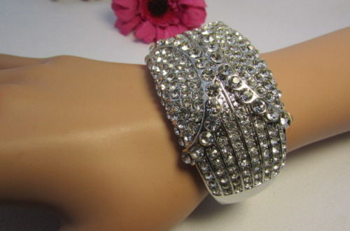 Gold / Silver Metal Retro Bracelet Cuff Multi Rhinestones New Women Fashion Jewelry Accessories - alwaystyle4you - 23
