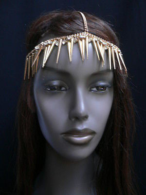 New Women Gold Head Chain Spikes Fashion Jewelry Rhinestones Circlet Headband - alwaystyle4you - 7
