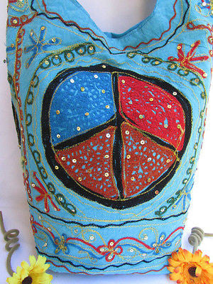 New Women Cross Body Fabric Fashion Messenger Hand Bag Big Peace Sign Black Red Blue - alwaystyle4you - 27