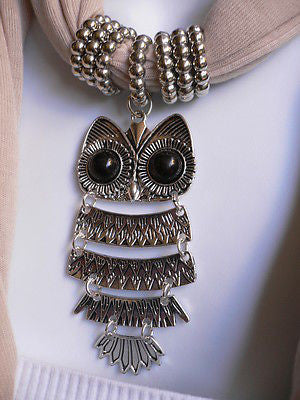 New Women Long Beige / Pnk Soft Scarf Fashion Necklace Silver Owl Pendant Rhinestones - alwaystyle4you - 10
