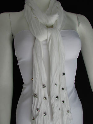New Women Soft Fabric Fashion White / Blue /  Gray / Black Scarf Long Necklace Silver Metal Stars Studs - alwaystyle4you - 10