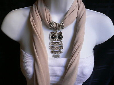 New Women Long Beige / Pnk Soft Scarf Fashion Necklace Silver Owl Pendant Rhinestones - alwaystyle4you - 2