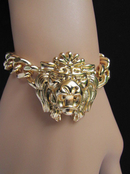 Gold Metal Thick Light Chains Bracelet Big Lion Head Trendy New Women Fashion Jewelry Accessories - alwaystyle4you - 7