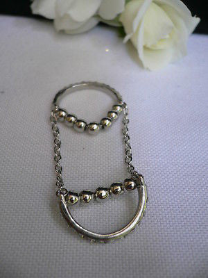Silver Metal Band Elastic Chic Double Chain Rhinestones Ring Women Hot Fashion Accessories