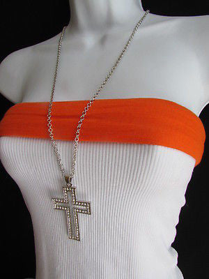 "Wester Women Silver Metal Fashion Necklace Big Cross Pendant Rhinestones 15"" - alwaystyle4you - 10"