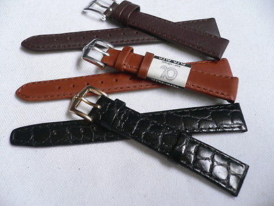 New Men Women 3 Watch Band Set Genuine Leather Crocodile Solid Anti Allergy Casual Elegant Black Dark Light Brown Fashion Jewelry 14 Mm - alwaystyle4you - 1