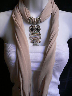 New Women Long Beige / Pnk Soft Scarf Fashion Necklace Silver Owl Pendant Rhinestones - alwaystyle4you - 4