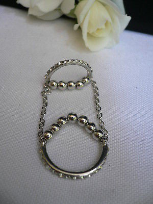 Hot Women Silver Metal Band Elastic Chic Fashion Double Ring Chain Rhinestones - alwaystyle4you - 4