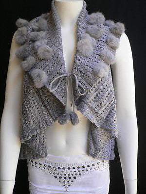 New Women Gray Trendy Knit Shawl Warm Sexy Top Faux Fun Ball Fashion Sweater Size L - alwaystyle4you - 2