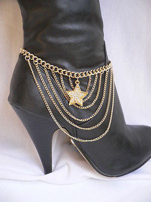 Gold / Silver Boot Big Star Multi Trendy Chain Silver Rhinestones Western Style - alwaystyle4you - 6