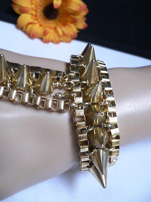 New Women Gold Meatl Hand Links Chain Spikes Slave Bracelet Wrist Ring Connected - alwaystyle4you - 4