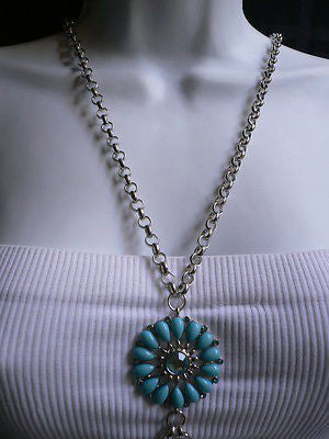 Blue Turquize Flower Beads Metal Body Chain Hot New Women Necklace Jewelry - alwaystyle4you - 11