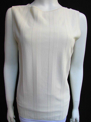 Brand New Valentino Women Top Basic Cream - Off White Classic Boat Neck Sleevless Knit Shirt Size: Large - alwaystyle4you - 1