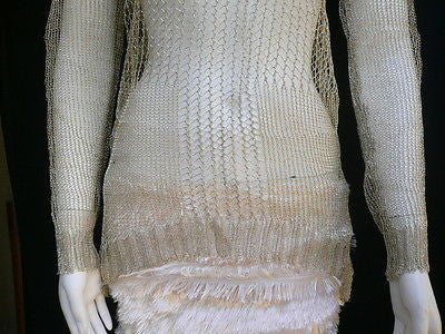 A Women Metallic Gold Knit Top Sweater Fashion Tunic Long Sleeve Blouse Medium - alwaystyle4you - 6