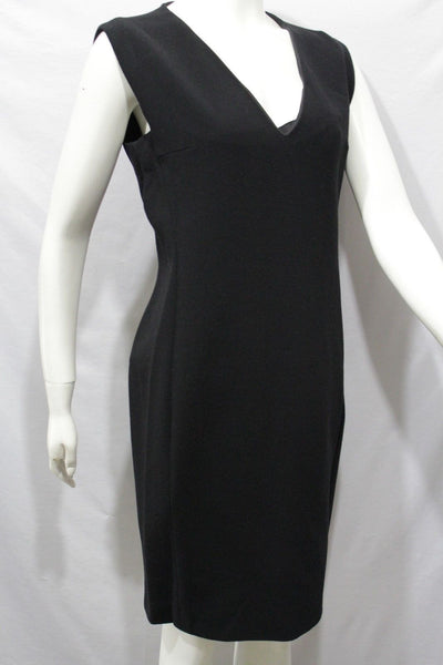 Black Classic Cocktail Dress Wool V Neck Sleeveless Lanvin Paris Brand New Women Size 10