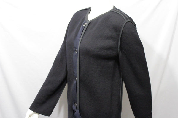 Black Long Coat Wool Classic Elegant Jacket Boat Neck Lanvin Paris Women New Fashion Size 10