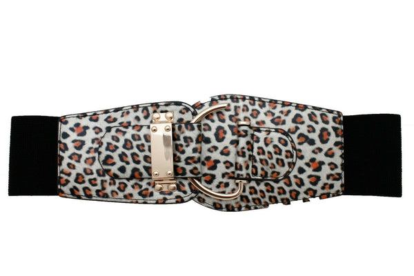Leopard Animal Print Women Belt Hip High Waist Elastic Waistband Gold Hook Metal Buckle L XL