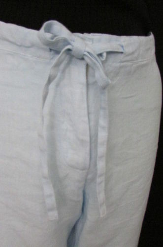 Light Blue Classic Linen Summer Basic Pants Cruise Trousers Taboo Women New Summer Fashion Size 10