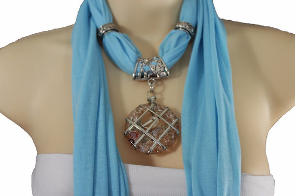 Light Blue Gray Pink Soft Fabric Glass Pendant Scarf Long Necklace Silver Metal Women Accessories